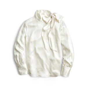 J crew collection for neck silk blouse ivory